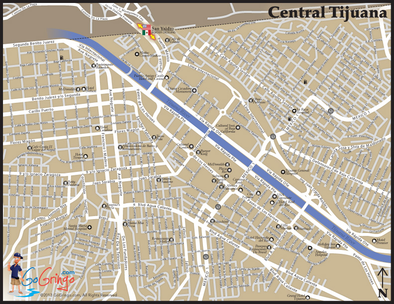 Street Map of Tijuana